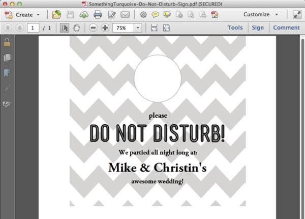 diy your own wedding do not disturb door signs. Black Bedroom Furniture Sets. Home Design Ideas