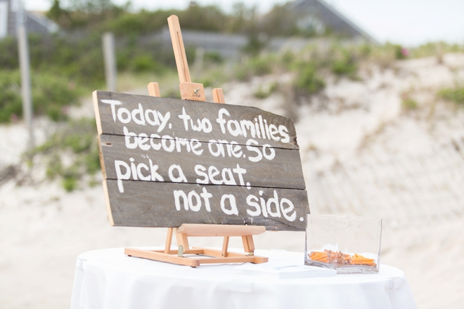 Pick a seat, not a side - beach wedding sign
