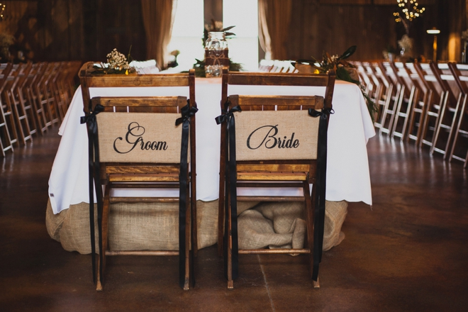 Rustic bride and groom reception chair signs
