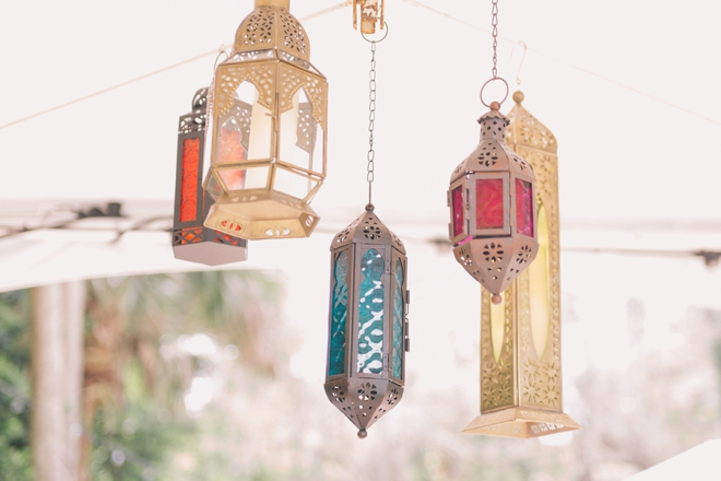 Hanging lanterns as wedding decor