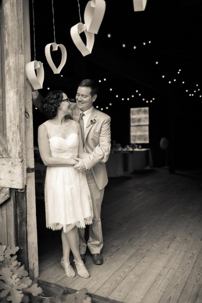 Barn bride and groom