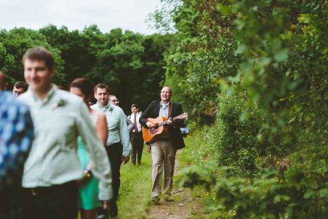 Rustic mountain wedding parade