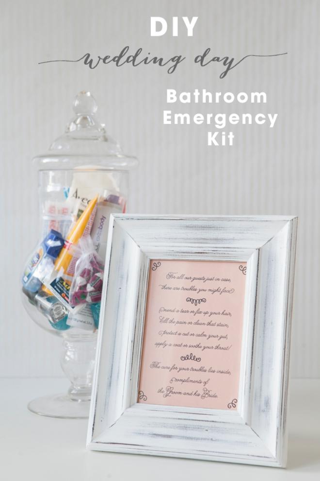 Learn how to make your own bathroom emergency kit for Wedding bathroom kit