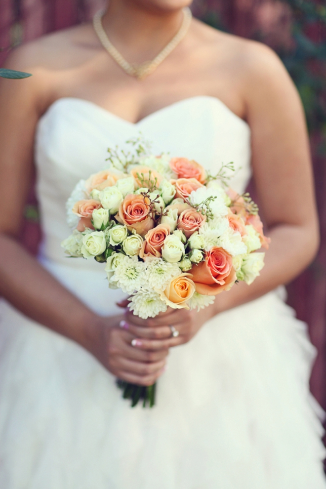 White and peach wedding bouquet