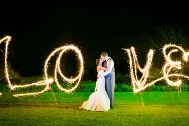 LOVE spelled out with sparklers