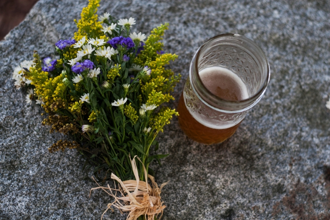 Wildflower bouquet and beer