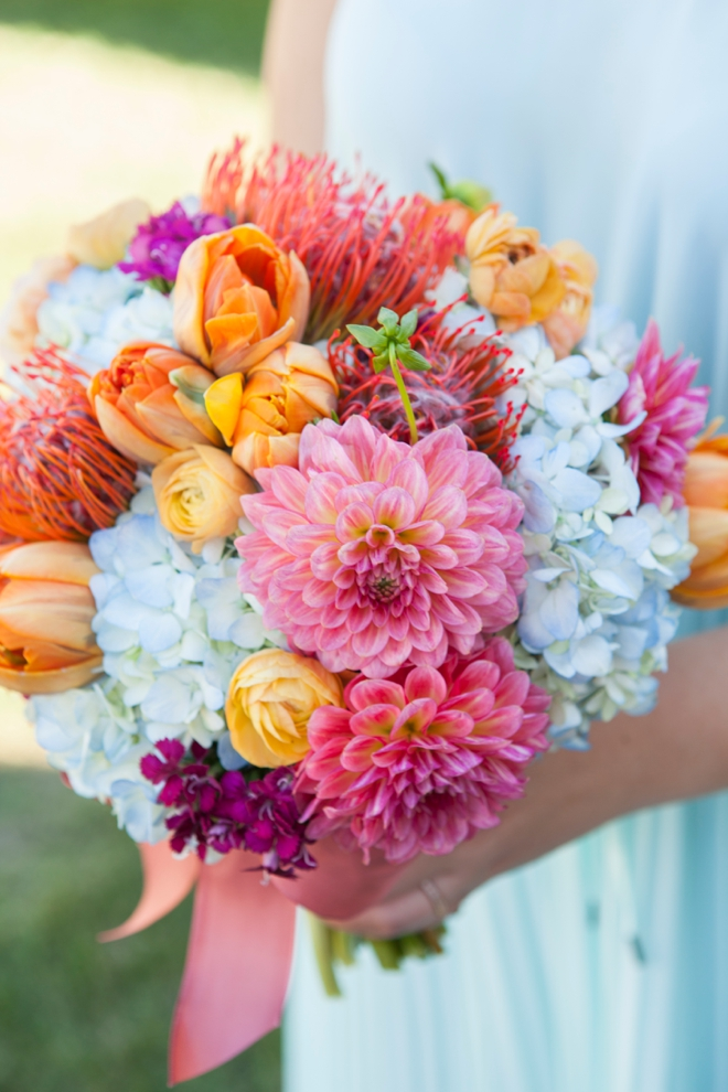 Bright and happy wedding bouquet