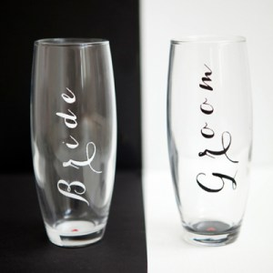DIY Bride & Groom Champagne Glasses
