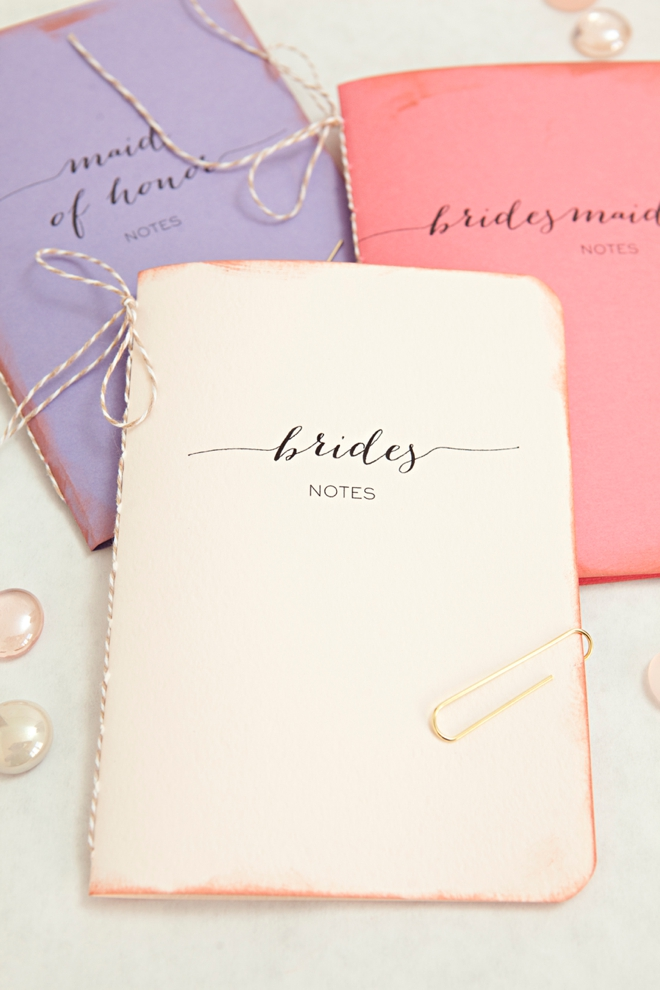 DIY notebooks for the bride, maid of honor and bridesmaids