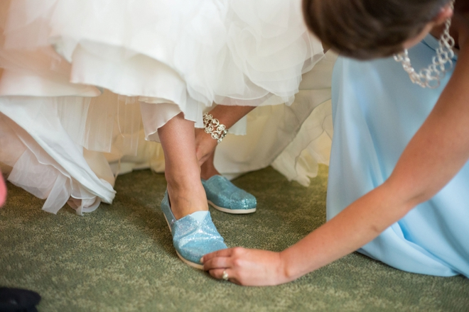 Glitter Toms wedding shoes