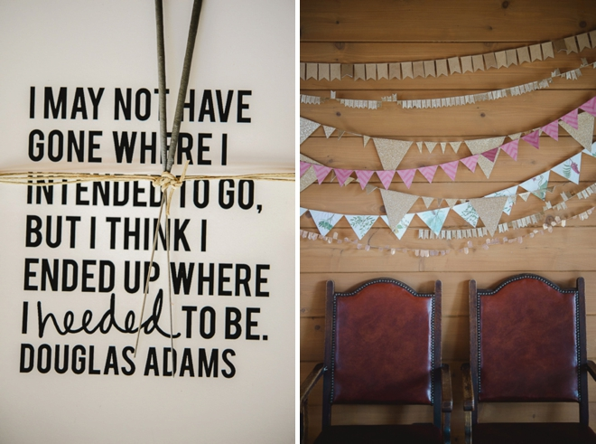 Gold and pink wedding tablescape with love quotes