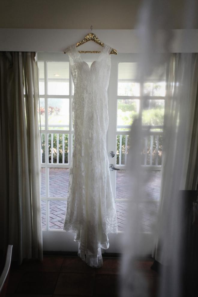 Dress hanging on sequin hanger