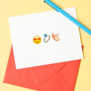 DIY silly and totally cute Emoji wedding cards
