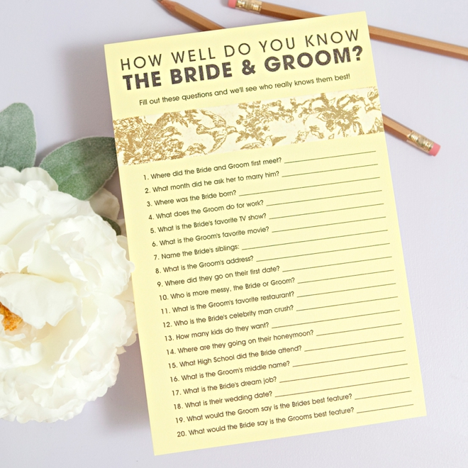 Does the bride know the groom questions