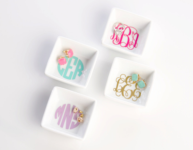 Monogram Jewelry Dishes from Bundled Up For You