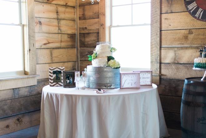 Rustic cake table display.