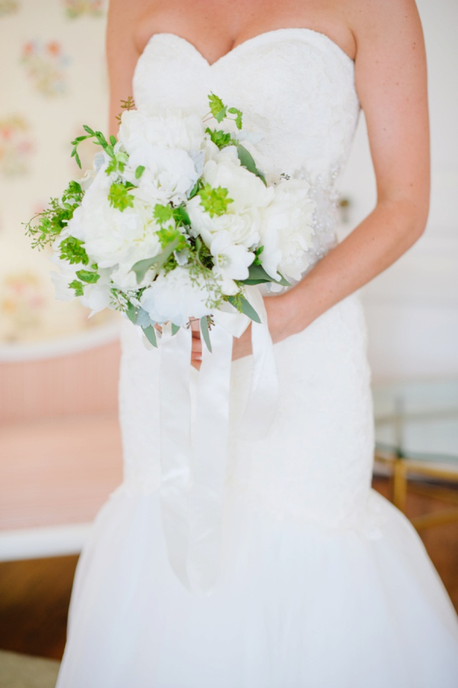 Stunning all white and green wedding bouquet