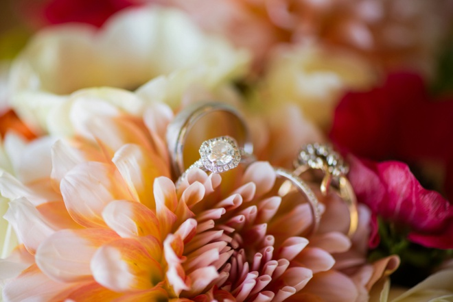 Gorgeous wedding ring shot in flowers