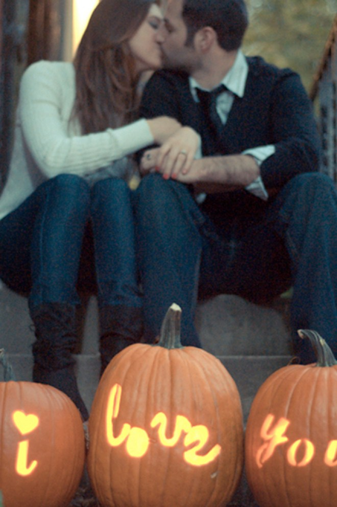 I love you - carved pumpkin for your fall engagement session by Elizabeth Craig Photography