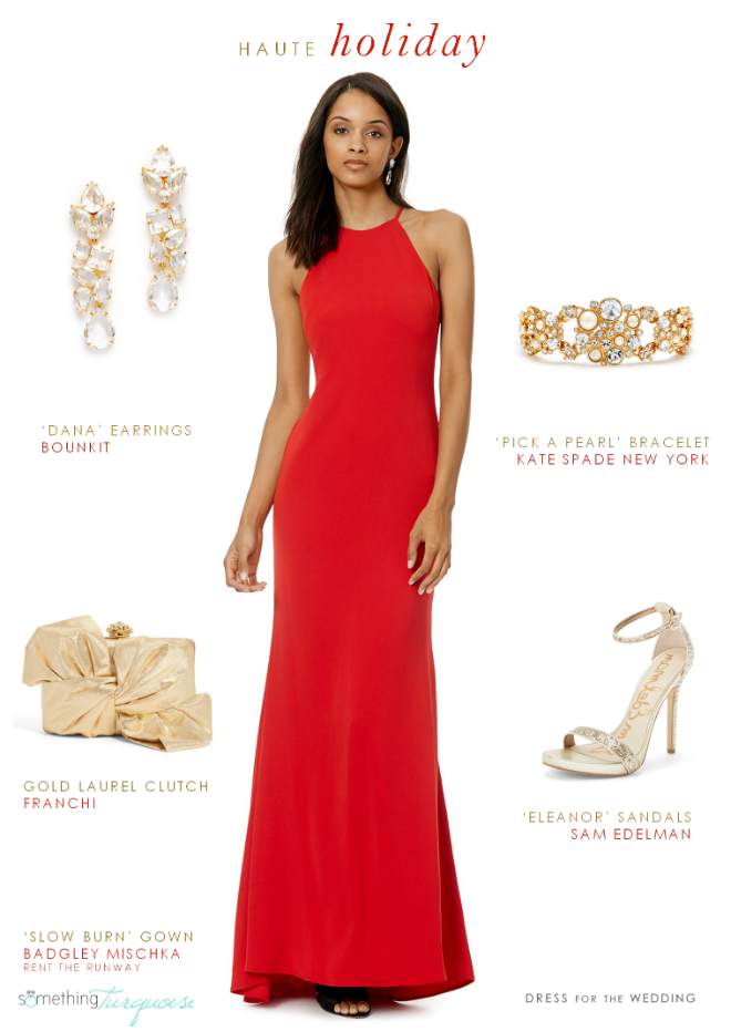 Bright red holiday gala dress | As seen on Something Turquoise, Styled by Dress for the Wedding