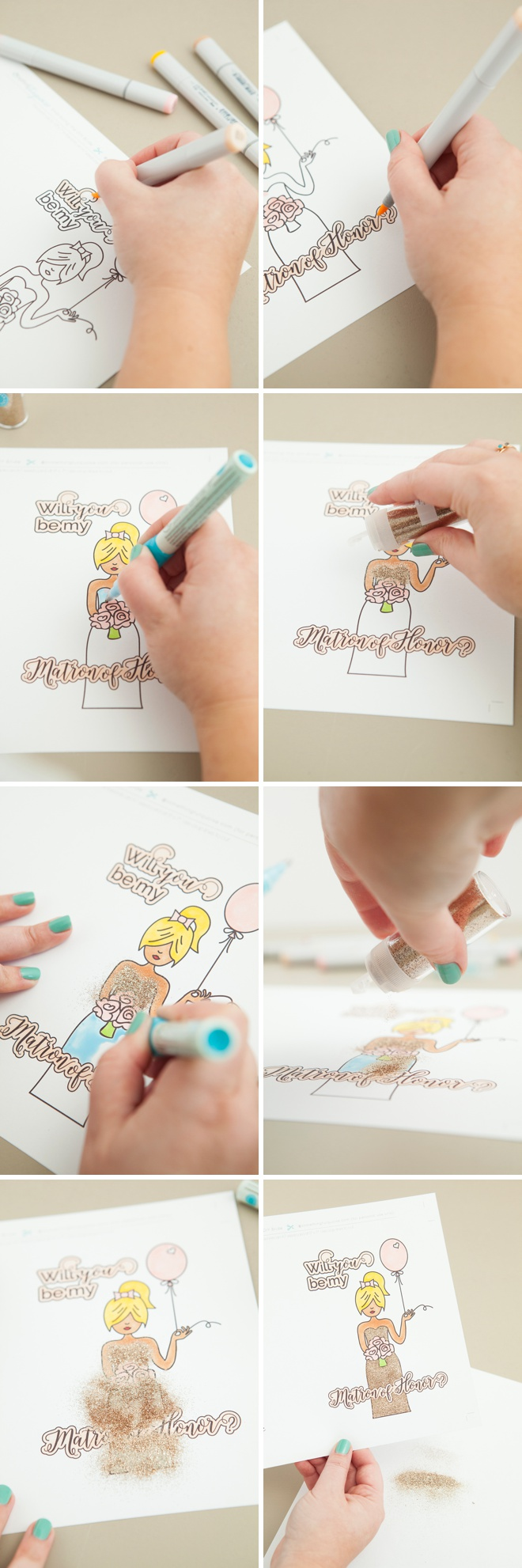 Free printable Will You Be My Bridesmaid card that you color!
