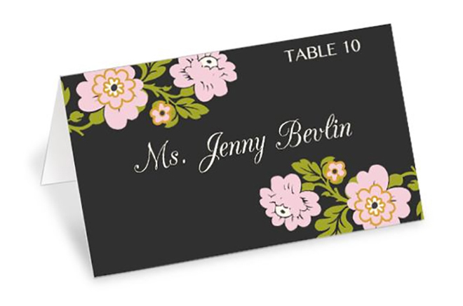 free printable place cards with flowers
