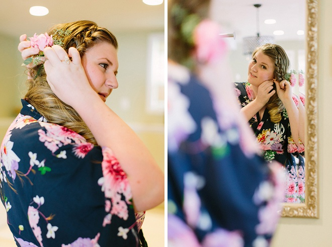 Loving this Bride's wedding color coordinated getting ready robe!
