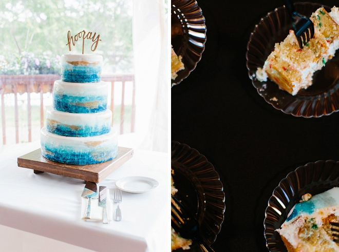 We're swooning over this handpainted blue wedding cake and darling hooray cake topper!