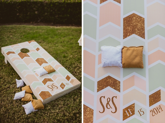 How fun and cute is this custom cornhole game at this stunning outdoor reception?! Love!