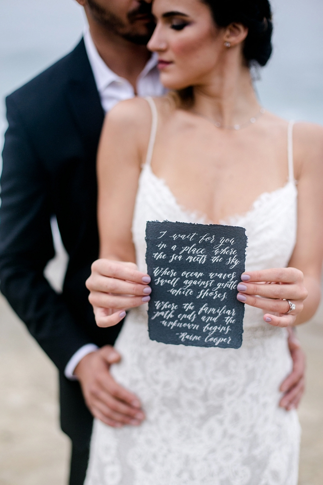 We're swooning over this quote shot at this stunning styled beach wedding!