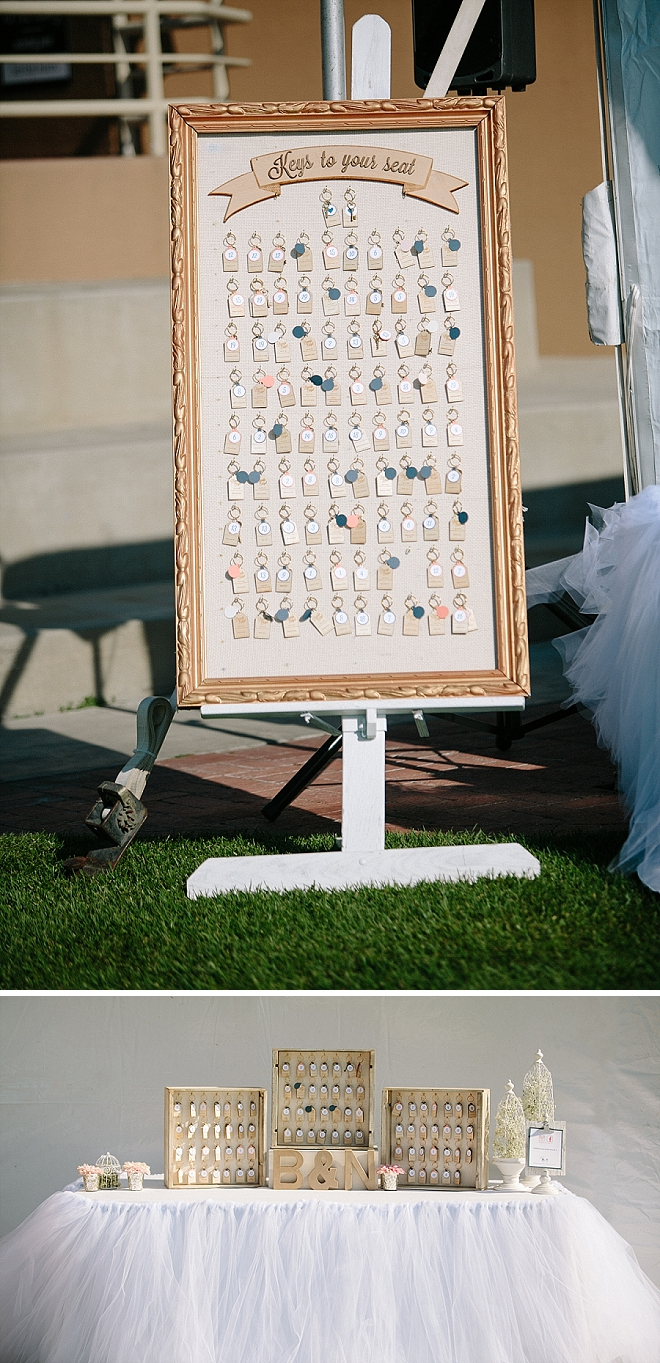 Loving this crafty key chain escort card idea DIY'd by the couple!