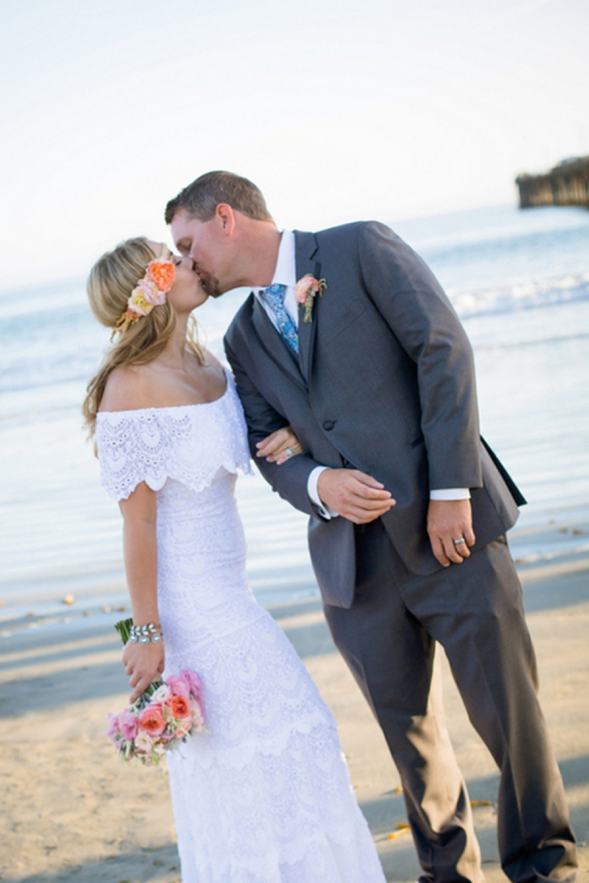 Gorgeous shot of a beachy bride and groom by Stefanie Elizabeth Photography