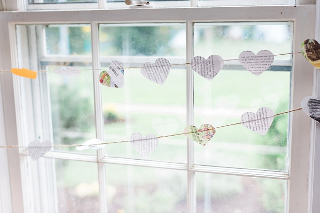 This Bride crafted SO many cute decorations with books! How darling is this heart banner?!
