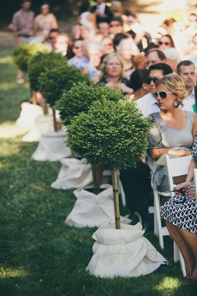 Topiaries are a lovely addition to aisle decor.