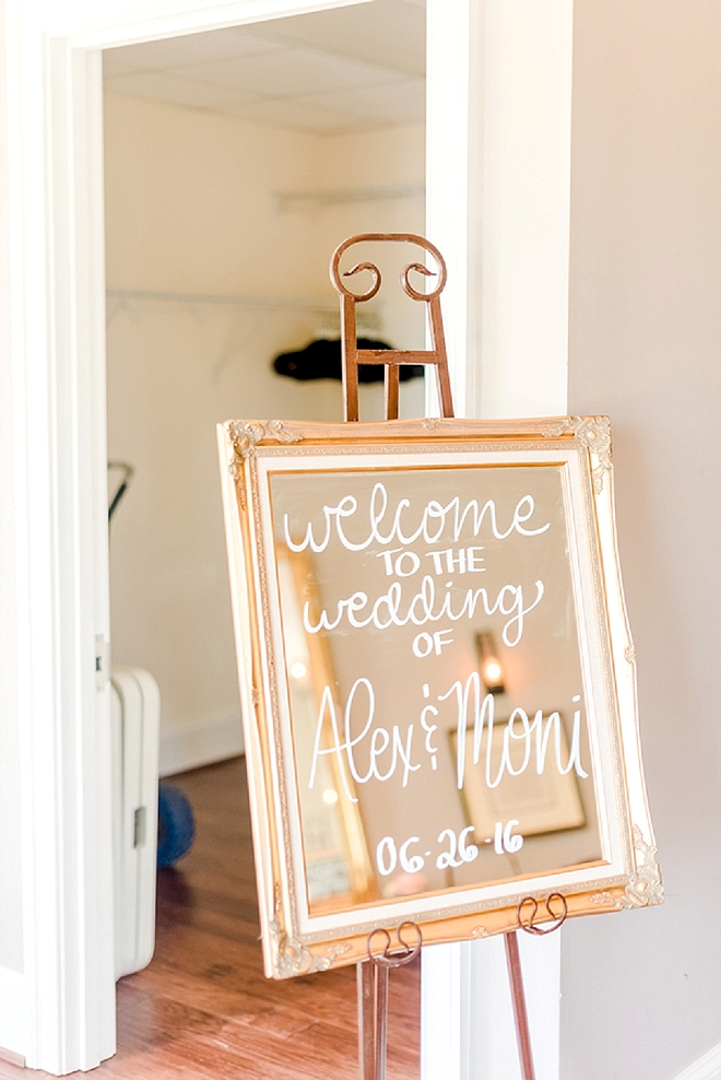 We love gold vintage mirrors as wedding signage and you will too!