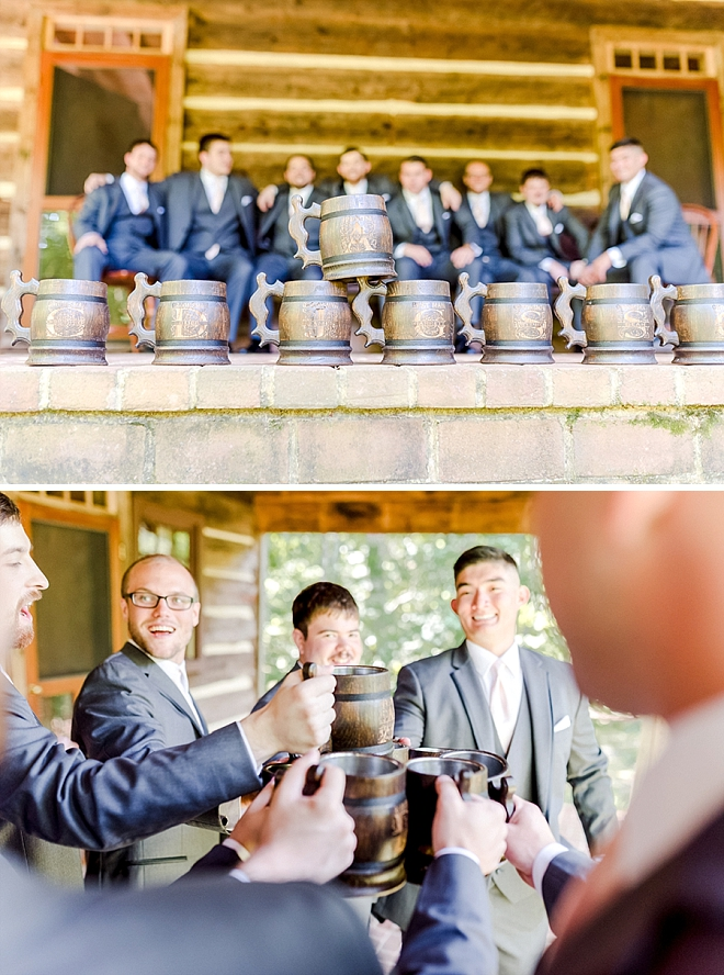 Such a fun shot of the Groom and Groomsmen cheering before the wedding!