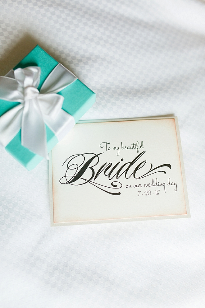 The Bride's note from her soon to be Husband!