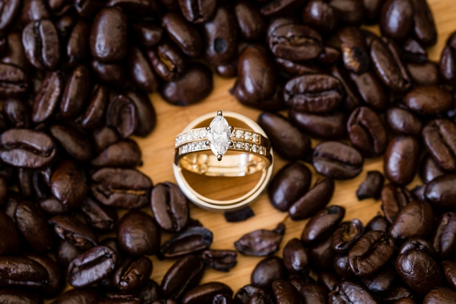 Such a cute ring shot for this breakfast-style wedding!