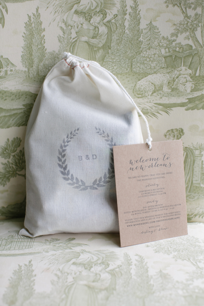 Greet your guests with a branded welcome bag.