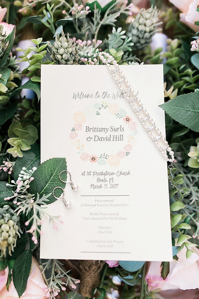 In love with the dainty wedding day invites and details at this stunning affair!