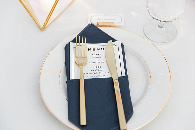 Loving the modern gold flatware at this couple's crafty reception!