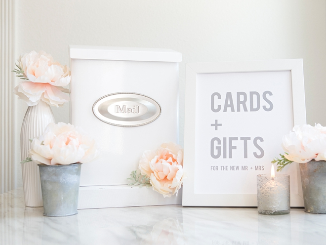 Make your own wedding mailbox card box, plus free printable signs in 6 colors!