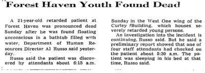 Forest Haven youth found dead 1974