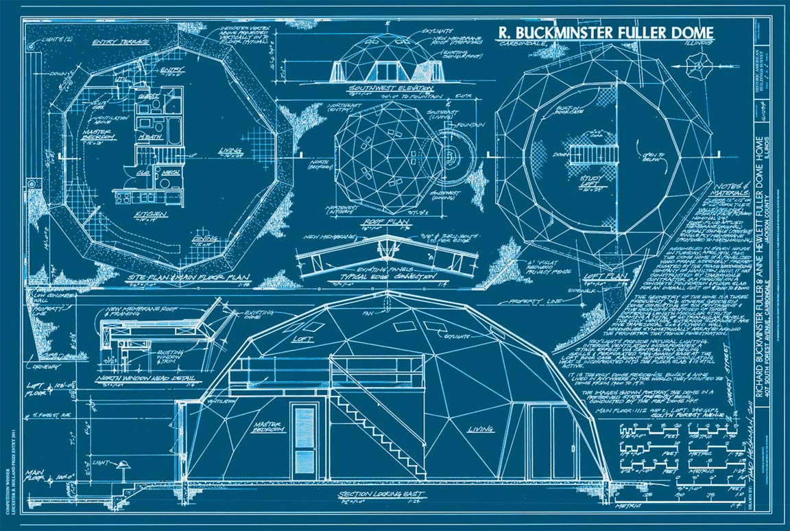 Buckminster fuller s home in a dome sometimes interesting for Blueprint for houses free
