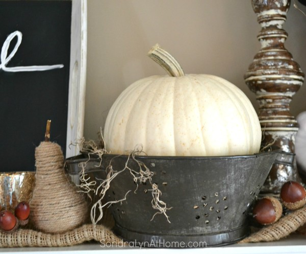 Fall Mantel 2015 -detail - Sondra Lyn at Home.com