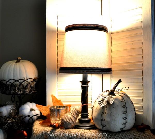 Fall Mantel 2015 - lamp detail -- Sondra Lyn at Home.com