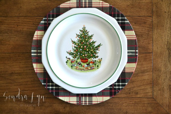 Plaid Charger with Pfaltzgraff Christmas Plate - Sondra Lyn at Home