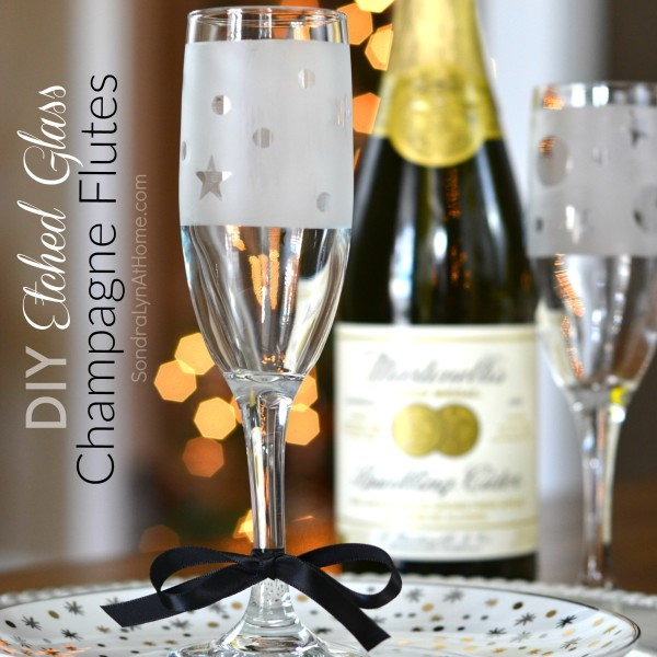 DIY Etched Glass Champagne Flute Party Favors - Sondra Lyn at Home.com