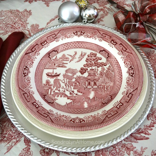 Merry and Toile Tablescape - Place Setting with Churchill Willow Rosa china -- from Sondra Lyn at Home