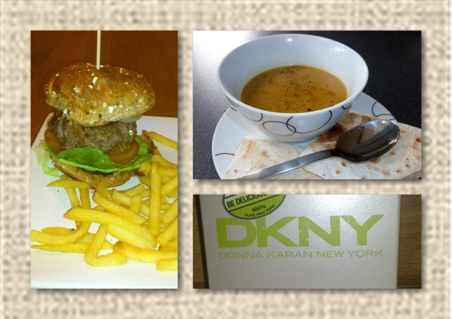 lamb burger, thai pumpkin soup, dkny